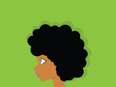 Afro doodle green girl black afro minimal vector illustration design