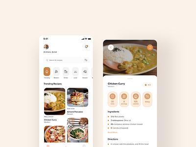 Recipe app | Mobile UI Design homepage landingpagedesign design dailyui ux ui 100daysofui figma