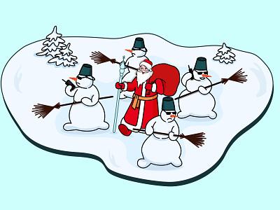 Дед Мороз с охраной 2021 illustration flat new year covid santa santaclaus santa claus snowman christmas trees snow radio security дед мороз охрана снеговик санта