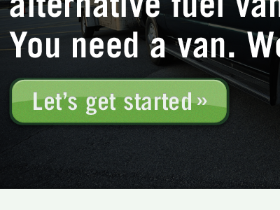 Let's get started button green trade gothic web type input greenvans