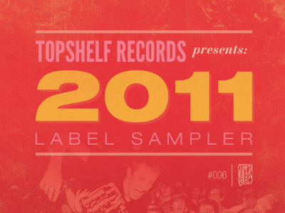 Topshelf Records 2011 Label Sampler cover league gothic helvetica extended bodoni red print topshelf records cd