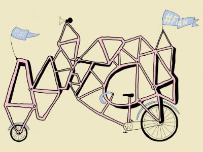 #FOAN 3 wacom print illustration bike flag mitch dubey topshelf records fuck off all nerds foan