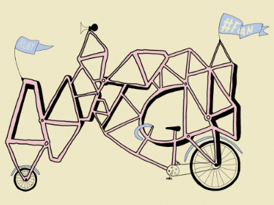 #FOAN 3 wacom print illustration bike flag mitch dubey topshelf records fuck off all nerds foan
