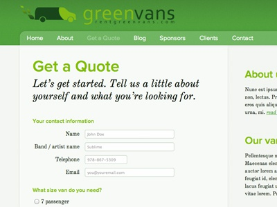 "Greenvans ""Quote"" page form greenvans web typekit"