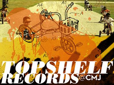 Topshelf Records 2012 CMJ Showcase bike tricycle bodoni neutra type poster collage