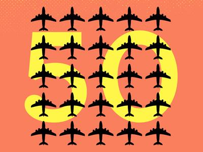50th plane. plane 50 fifty airplane archer type print
