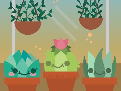 Prickly Friends icon vector minimalism minimal illustrator illustration flat graphic design greenhouse succulent design
