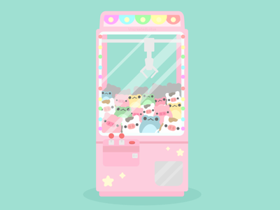 Arcade Game plush cute minimal vector illustration flat illustrator graphic design design crane game arcade game arcade