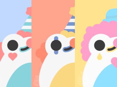Clown Frogs cute froggy clowns frog clown flat illustration graphic design design illustrator minimal vector