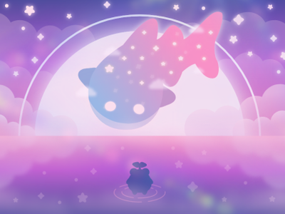 Dreaming dreamy space frog froggy whale galaxy minimal vector illustration flat illustrator graphic design design