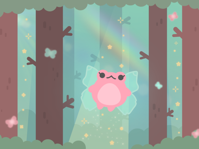 Froggy Fairy fairytale magic rainbow cute fantasy nature fairy froggy minimal vector illustration flat illustrator graphic design design