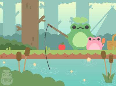 Gone Fishin' camping fantasy fishing trip fishing forest nature frogs frog froggy minimal vector illustration flat illustrator graphic design design