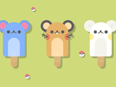 Pokémon Popsicles minimal vector illustration flat illustrator graphic design design ice cream pokemon