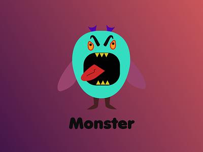 Monster illustration logo icon design