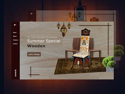 Wood Shope Page illustration icon ui web design