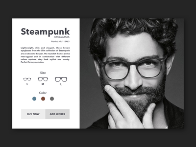 Steampunk Eyeglasses ui ux product page ios app iphone android free sketch file card typography daily branding