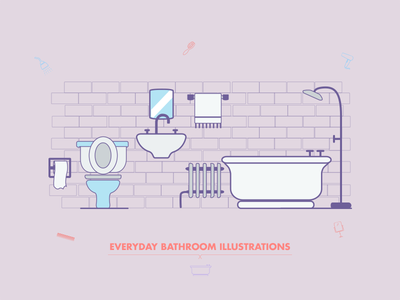 Everyday Bathroom Illustrations