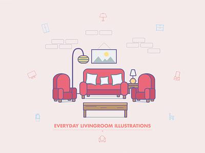 Everyday Livingroom Illustrations ios app android iphone responsive ui ux bathroom website web icons icon set illustrations