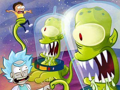 Rick and Morty VS Kang and Kodos illustraion cartoon the simpsons rick and morty