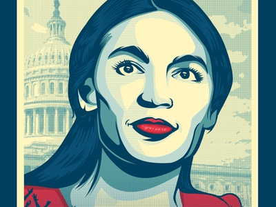 AOC For President vote feminism feminist art obama poster green new deal politics alexandria ocasio cortez