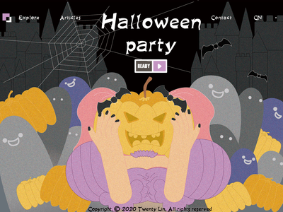 Halloween animation web vector illustration design