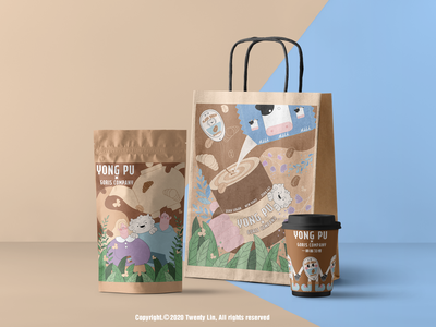 Coffee brand illustration design branding flat vector illustration design