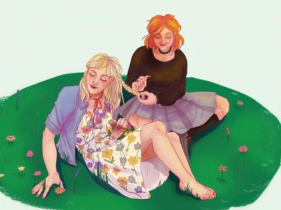 Gals being pals illustration