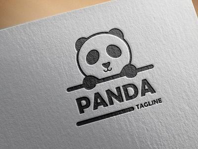 Logo Panda panda icon isolated simple cute character white design logo bear graphic wildlife art cartoon black face silhouette animal illustration style