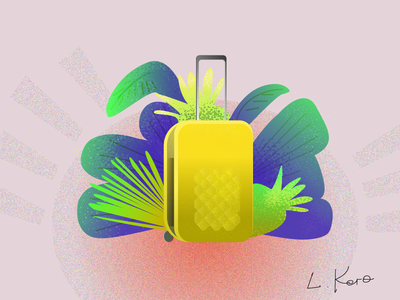 Sutecase for a great travel sun plants sutecase travel vector branding icon logo illustration design