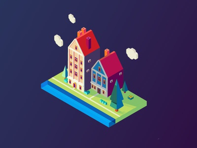 Isometry colorful isometry houses plants illustration vector