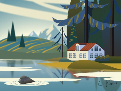 House in the mountains on the shore. Summer. summer forest lake mountains house landscape vector illustration