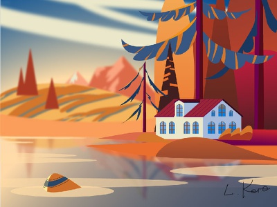 House in the mountains on the shore, autumn. landscape house autumn lake forest colorful illustration vector