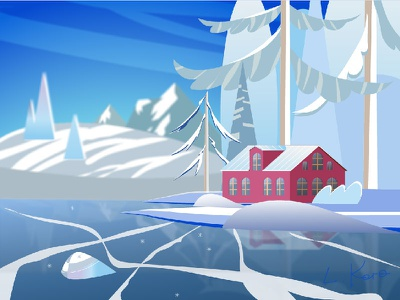 House in the mountains. Winter. trees colorful ice vector illustration