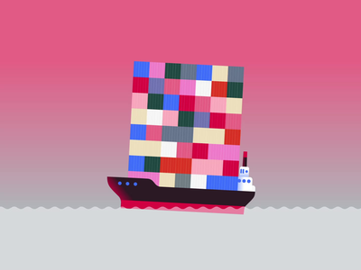 03. Bulky ship sea boxes boat mograph motiongraphics loopvideo loop animatedillustration animation aftereffects illustration vectorart vectober2020 vectober inktober2020 inktober