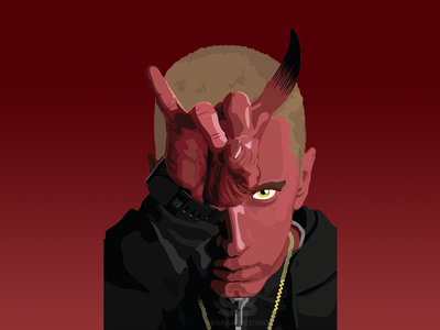 Devil Eminem - Halloween theme illustration art print design artwork illustration dailylogochallenge