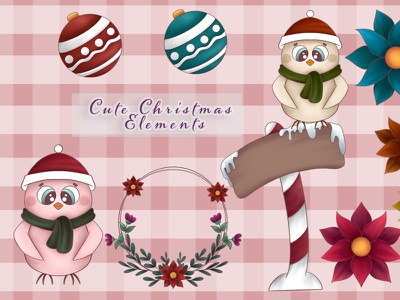 Christmas Clipart christmas design illustration graphic cute illustration clipart set clipart