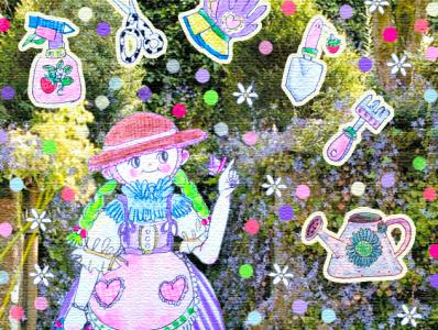 Cute gardening 🌼🌷🌻🌹 kids lolita fashion lolita gardener hand drawn confeti fun happy gardening tools tools kidcore cottagecore cute illustration gardening garden