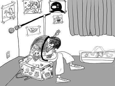room guitar fun drawing guitarist black and white cute music guitar illustration