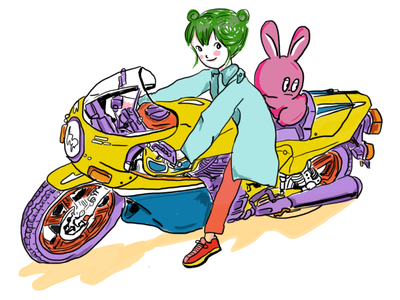 Moto fun art confetti cute art anime girl redraw cute anime moto motorcycle