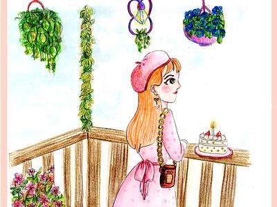 Balcón illustration lonely girl birthday cute
