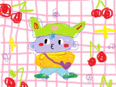 Cherry Blue cherries naive kids illustration kids confetti art mascot cute illustration fun