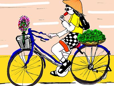 vietnam girl cuture friendship vietnamese vietnam bike bycicle girl illustration girl anime confetti art cute illustration