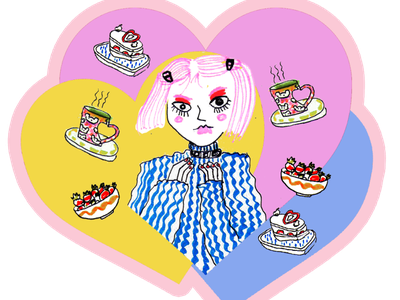 Pastel Heart Sticker strawberry stickers sticker design girly lovely pastry cafeteria girl cafe pastel heart