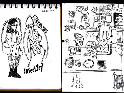 sketchbook page messy insects room korea exchange sketching thoughts random blackandwhite sketchbook sketch