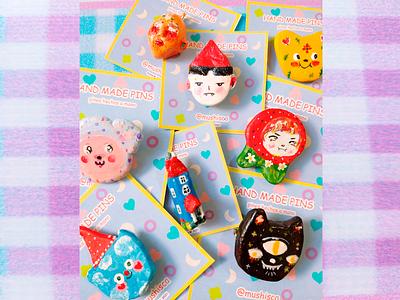 P I N original character characterdesign handmade experimental 3d illustration brooch cute pins pin