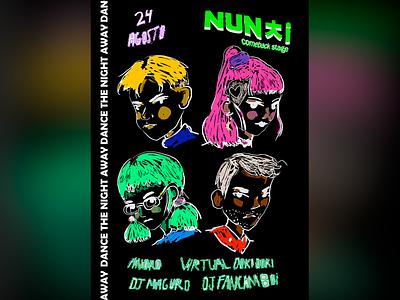 Nunchi's Comeback Party design kpop party concert dj poster design poster illustration