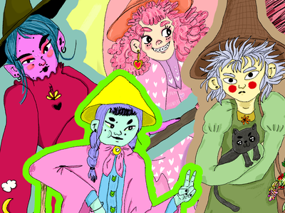 Witchesss Collage collage character design illustration cute witches witch
