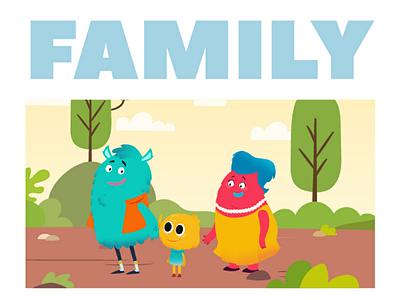 Monster Family education colour flat design vectorart characterdesign cute love monster family