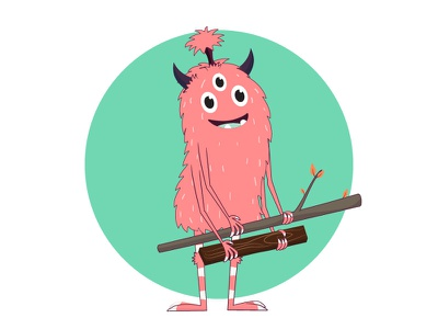 Little Monster playcard outdoor outside tree fun character character design illustration