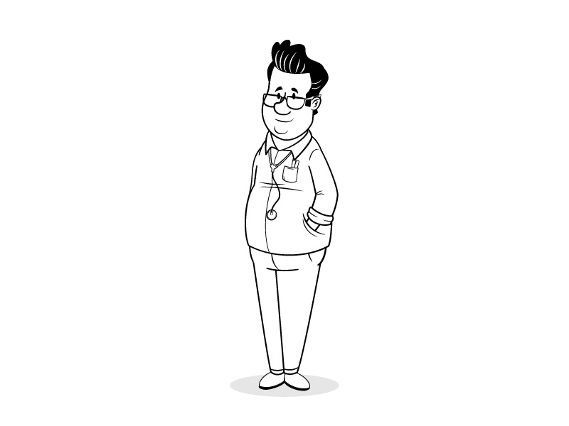 Tzabar Medical doctor animation retro man men nurse hospitals character design illustration draw
